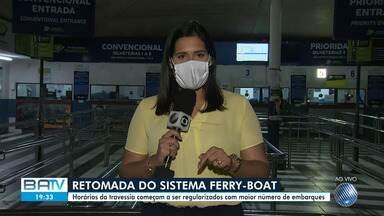 Sistema ferry boat é retomado com maior número de embarques nesta segunda-feira - Horários da travessia começam a ser regularizados.