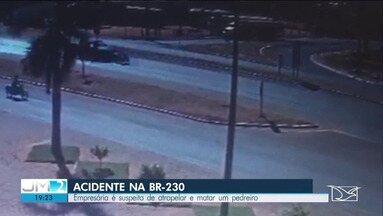 Em Balsas, Polícia prende empresária suspeita de atropelar e matar um pedreiro na BR-230 - O acidente foi gravado por uma câmera de segurança.
