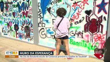 Escola de Cariacica, ES, faz grafite para matar saudade dos estudantes - Assista a seguir.