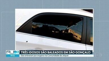 Três idosos são baleados ao entrar por engano em favela de São Gonçalo - Os idosos pegaram o caminho errado e entraram em uma favela em São Gonçalo. Os bandidos abriram fogo e balearam os três.
