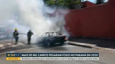 Mais de 1000 carros pegaram fogo no Paraná em 2020 - Bombeiros orientam que o motorista pare o carro e desligue o veículo o quanto antes.