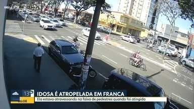 Idosa é atropelada em Franca - Ela estava atravessando na faixa de pedestres quando foi atingida.