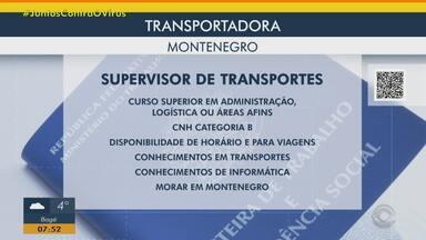 Transportadora tem vaga para supervisor de transportes em Montenegro - Acesse o g1.com.br/rs e veja os detalhes.