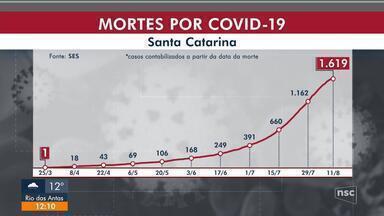 SC tem 109.522 infectados e 1.619 mortes por Covid-19 - SC tem 109.522 infectados e 1.619 mortes por Covid-19