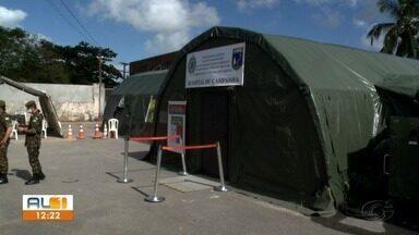 Hospital de campanha do Exército é montado no bairro do Pinheiro - Atendimento médico e odontológico é ofertado para a população.