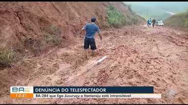 Telespectador denuncia más condições na BA-284, no sul do estado - Confira as imagens.