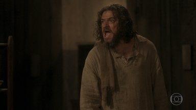 Licurgo afirma a Hugo e Elvira que enfrentará Hércules e resgatará Germana - Ele pede que Hugo tome conta da taberna até a sua volta