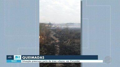 Situação das queimadas preocupa perto da área urbana, em Corumbá - Situação das queimadas preocupa perto da área urbana, em Corumbá