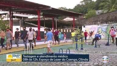 Ação oferece testes para detectar Covid-19 e outros exames em Olinda - Segundo a prefeitura, atendimento aos moradores da cidade acontece até o meio-dia.
