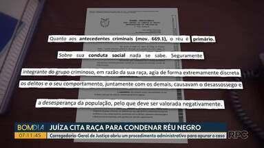 Juíza cita raça para condenar réu negro - Corregedoria-Geral de Justiça abriu um procedimento administrativo para apurar o caso.
