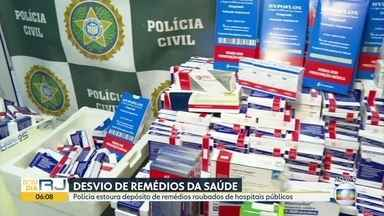Polícia descobre depósito clandestino com remédios roubados da rede pública - O valor do material roubado está avaliado em 1 milhão de reais; alguns desses remédios são destinados para o tratamento de câncer e custam até 30 mil reais
