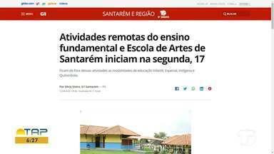 Retorno de atividades do ensino fundamental e escola de Artes é destaque no G1 Santarém - Acesse a reportagem completa no g1.com.br/tvtapajos