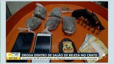Homem é preso com drogas em salão de beleza - Saiba mais em: g1.com.br/ce