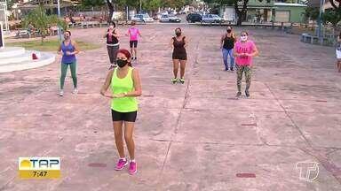 Projeto 'Vida Saudável', que leva atividades físicas a praças de Santarém, retoma aulas - Adeptos das atividades já estavam sentindo falta das aulas.