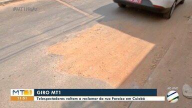 Telespectadores voltam a reclamar de buracos na rua Paraíso em Cuiabá - Telespectadores voltam a reclamar de buracos na rua Paraíso em Cuiabá.