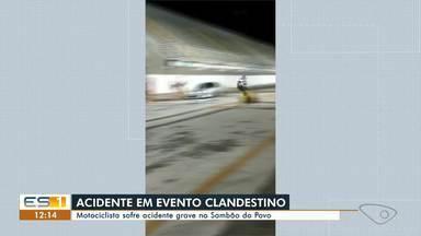 Motociclista cai depois de fazer manobra em alta velocidade em Vitória - Assista a seguir.