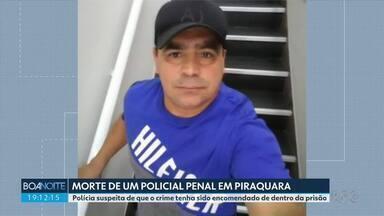 Polícia investiga se morte de policial penal em Piraquara foi encomendado - Policiais penais fizeram um protesto em frente ao Palácio Iguaçu, em Curitiba, contra a morte do colega de profissão.