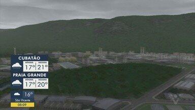 Confira a previsão do tempo para essa segunda-feira - Baixada Santista terá dia nublado com possibilidade de chuva.