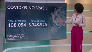 Brasil chega a 108.054 mortes por Covid e 3,3 milhões de casos confirmados - O Brasil tem 108.054 mortes por coronavírus confirmadas até às 13h desta segunda-feira (17), segundo levantamento do consórcio de veículos de imprensa a partir de dados das secretarias estaduais de Saúde.