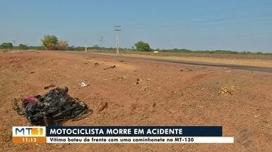 Motociclista bate de frente em caminhonete e morre na MT-130 - Motociclista bate de frente em caminhonete e morre na MT-130 em Primavera do Leste