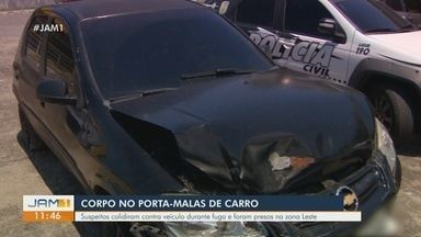 Corpo de homem é encontrado em porta-malas de carro na zona Leste de Manaus - Suspeitos colidiram contra veículo durante fuga e foram presos.