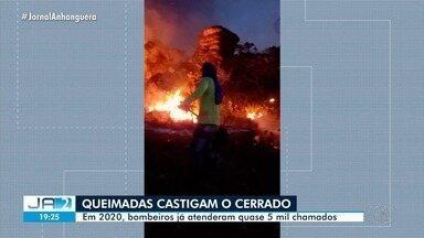 Bombeiros combatem incêndio na Serra Dourada, na Cidade de Goiás - Em 2020, bombeiros já atenderam quase 5 mil chamados.