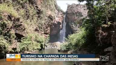 Técnicos avaliam estrutura dos atrativos turísticos na Chapada das Mesas - Primeira parada foi na cachoeira do Macapá.