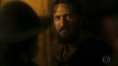 Thomas reúne bandidos para embarcar com ele em busca de Anna - Ele promete riquezas a quem o acompanhar e consegue muitos homens
