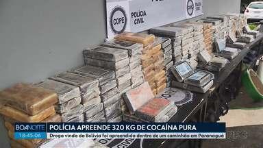 Polícia apreende mais de 300 quilos de cocaína - Droga foi apreendida dentro de um caminhão, em Paranaguá.