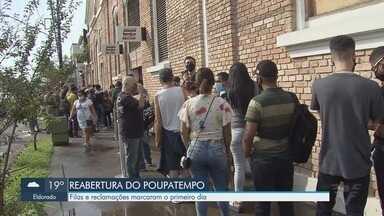 Poupatempo de Santos reabre e registra fila em unidade - Fila e reclamações marcaram o primeiro dia de reabertura.