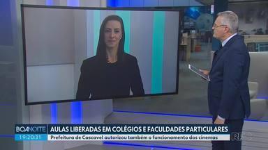Prefeitura de Cascavel autoriza volta às aulas em colégios e faculdades particulares - O decreto também autorizou funcionamento dos cinemas na cidade.