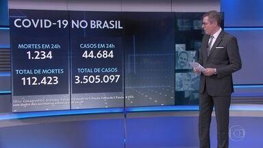 Brasil passa de 112 mil mortes e 3,5 milhões de infectados por Covid - Nas últimas 24 horas, 1.234 óbitos foram registrados. A média móvel de novas mortes nos últimos 7 dias é de 980 óbitos, uma queda de 4%.
