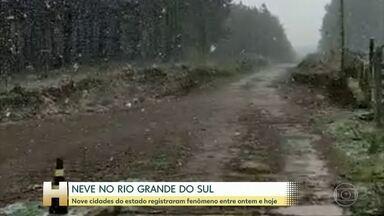 Neva em nove cidades do Rio Grande do Sul - Em Cambará do Sul, no amanhecer a sensação térmica era de 9 graus negativos.