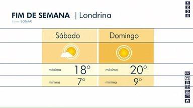 Londrina terá um fim de semana de tempo aberto e frio - Mínimas vão ficar abaixo dos 10 graus