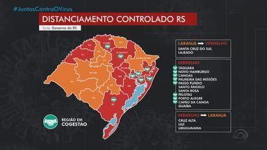 Mapa preliminar reduz para 13 número de regiões em bandeira vermelha no RS - Atualmente, 14 regiões do estado estão com classificação de alto risco. Oito regiões já tiveram planos regionais aprovados pelo governo e podem adotar medidas mais flexíveis.