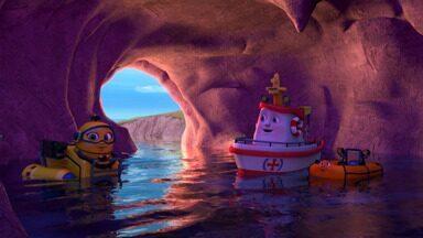 Aventura Na Caverna Do Eco - Swifty se recusa a se carregar antes de ir para alto mar. Durante o trajeto ele perde o ar e é incapaz de pedir ajuda. Felizmente ele é visto flutuando por Gill e Gull, que alertam Elias e Subby.