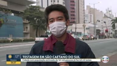 Testagem em São Caetano do Sul - Cidade com população estimada em 161 mil habitantes já fez 64 mil testes.