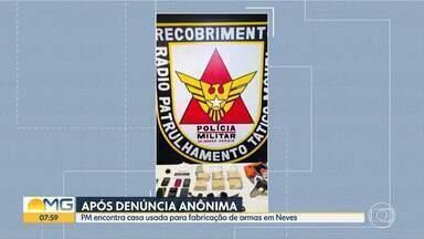PM descobre casa usada para fabricação de armas em Ribeirão das Neves - No local, os policiais também encontraram droga e celulares. Dois suspeitos foram presos.