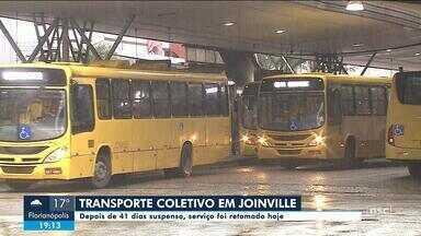 Depois de 41 dias suspenso, transporte coletivo volta em Joinville - Depois de 41 dias suspenso, transporte coletivo volta em Joinville