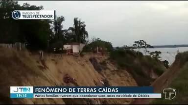 Em Óbidos, fenômeno 'terras caídas' faz famílias abandonarem casas; veja - Pessoas têm que morar em casas pagas com aluguel social.