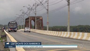 Ônibus voltaram a passar pela Ponte dos Barreiros, em São Vicente - Justiça liberou tráfego de ônibus e caminhões dos bombeiros.