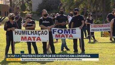 Setor de eventos de Londrina faz protesto - Representantes cobram retomada gradativa das atividades.