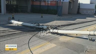 Acidentes com postes prejudicam fornecimento de energia em MG - Acidentes com postes prejudicam fornecimento de energia em MG