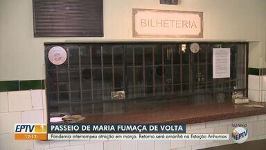 Maria Fumaça retoma os passeios neste domingo após seis meses com as atividades paradas - Pandemia interrompeu atração, que faz o trajeto entre Campinas (SP) e Jaguariúna (SP) em março. Retorno será amanhã (6) na Estação Anhumas.