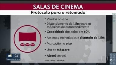 Salas de cinema já têm protocolos de segurança para a retomada - As regras foram divulgadas no Diário Oficial do estado.
