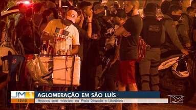 Mais uma sexta-feira com registro de aglomeração em São Luís - Na avenida Litorânea, muita gente sem máscara. A situação se repetiu na Praia Grande.