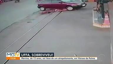 Menina de 12 anos sai ilesa de atropelamento em Várzea da Palma - Em Várzea da Palma, uma menina, de 12 anos, foi atropelada por um carro. Ela ficou presa debaixo do veículo, mas saiu de lá praticamente ilesa.