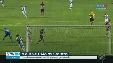 Ponte Preta vence o Botafogo-SP e se reabilita na Série B - Jogo truncado no Moisés Lucarelli, na noite desta sexta-feira (4), foi definido com um gol contra nos minutos finais e terminou com a vitória da Macaca por 1 a 0.