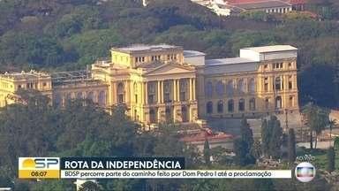 """Rota da Independência: conheça caminho percorrido por Dom Pedro I até """"Grito do Ipiranga"""" - BDSP refez parte do trajeto do imperador com equipes por terra e pelo ar."""