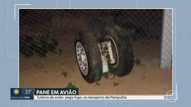 Turbina de aeronave pega fogo, no Aeroporto da Pampulha, em BH - Aeronave teve uma pane cerca de 15 minutos após decolar.